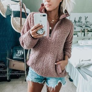 Sweaters - Blush Pink Soft Sherpa Pullover Sweater